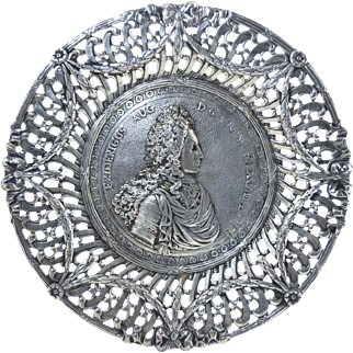 """Antique King Frederick The Great of Prussia Hanau 800 Silver Reticulated Dish German 7"""" 171g"""