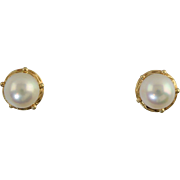 SOLD Vintage 8.5mm Cultured Pearl 14k Earrings South Sea Gorgeous Luster!