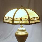 Large Signed Miller Slag Glass Lamp.. Vintage... Minty Condition!!