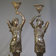 """SOLD ***Reserved for Colby****Figural Man & Woman Bronze Classical Candlesticks..15"""""""