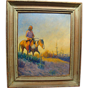 Lone Wolf, Hart M. Schultz (American 1882-1970) 1915 Painting American Indian on Horseback