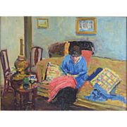 SOLD 1916 Alice Hirsh (American 1888-1935) Impressionist Interior Painting Woman Sewing 1916