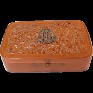 Vintage Carved Celluloid & Silver Dressing Table Trinket Box