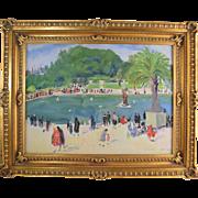 Isabel Hickey (American 1872-1931) Pennsylvania Impressionist Artist French Park Scene Riviera