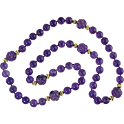"Gorgeous! 34"" Genuine Amethyst 13mm Bead Necklace w/Carved 17.5mm Amethyst Beads & 14K Sp"