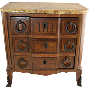SALE PENDING 19th Century French Parquetry Inlaid Marble Top Miniature Doll Chest Commode Bron