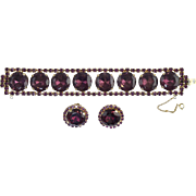 Huge Chunky! Vintage Purple Rhinestone Link Bracelet & Clip Earring Set Bling!