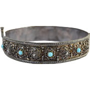 "Vintage Turkish Silver Filigree & Turquoise Hinged Bangle Bracelet 5/8"" Wide"