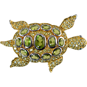 Charles Winston Sterling Silver Sea Turtle Pin... Peridot (Synthetic) & CZ