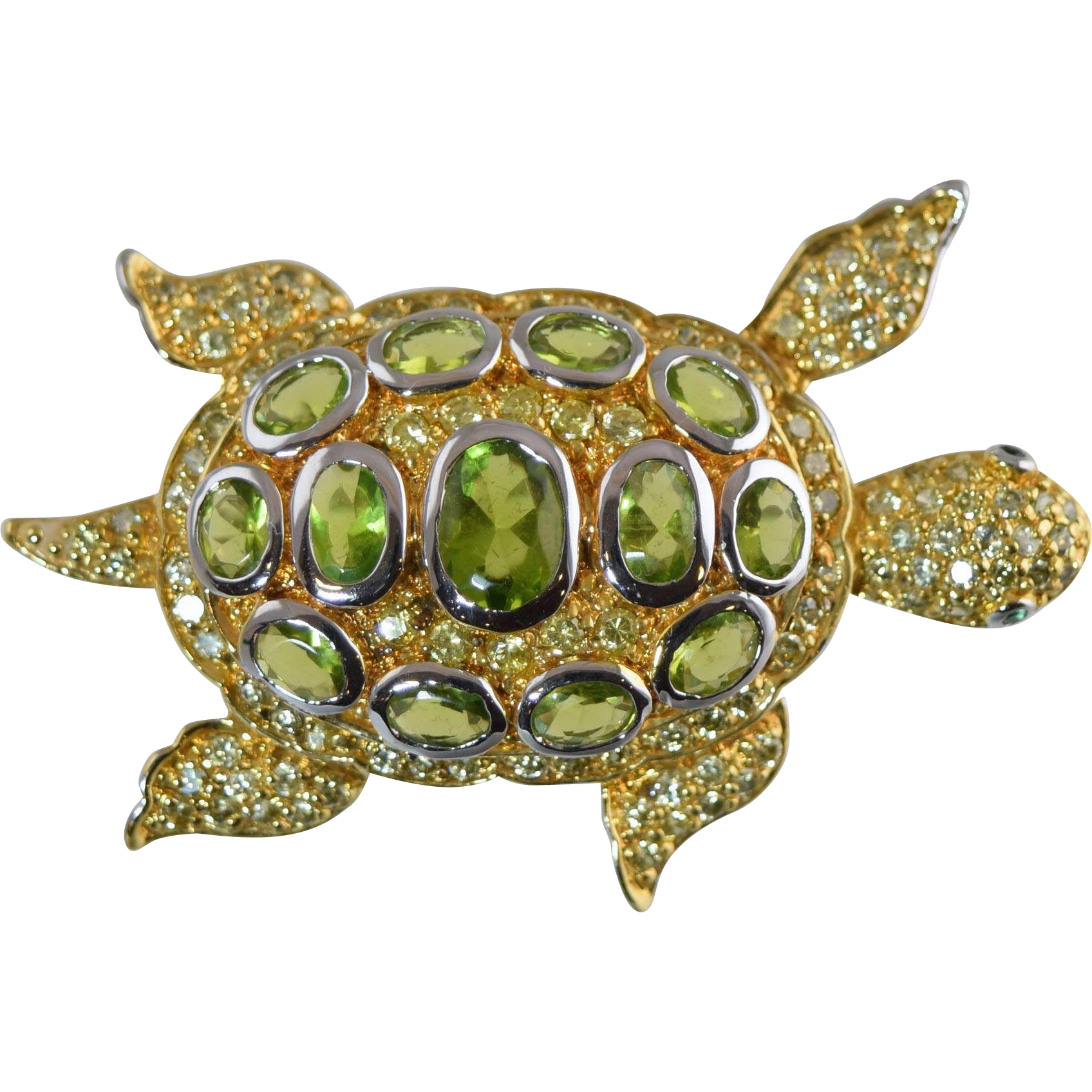 charles winston sterling silver sea turtle pin peridot