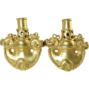 """SALE PENDING Vintage 800 Vermeil Silver Italian Etruscan """"Ancient Roman Vessel"""" Earr"""