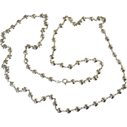 "Unique Sterling 925 ""Puffy Heart"" Charm Chain Necklace 34"" Long 22.9g"