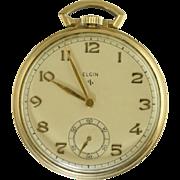 SOLD Vintage 1948 Elgin 10s 546 Grade Open Face Pocket Watch Works 10k GF Case Nice!