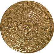 """Large Vintage Sterling & Gold Mexican Taxco """"Metales Casados"""" Mayan Calendar Pin Sil"""