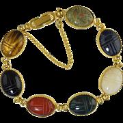 """SALE PENDING Vintage Real Gemstone Carved Scarab Bracelet in Gold Tone 7.5"""""""