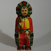 Vintage tin litho wind-up Indian Chief Toy