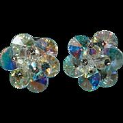 Dazzling Vintage VENDOME AB Crystal Clip Earrings