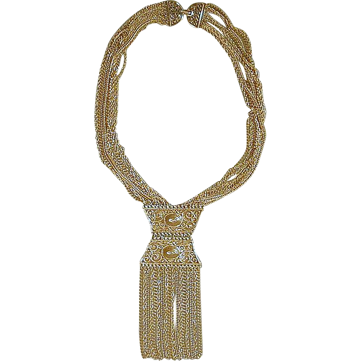 Vintage 1960s Big Bold Goldtone Fringed Pendant Necklace