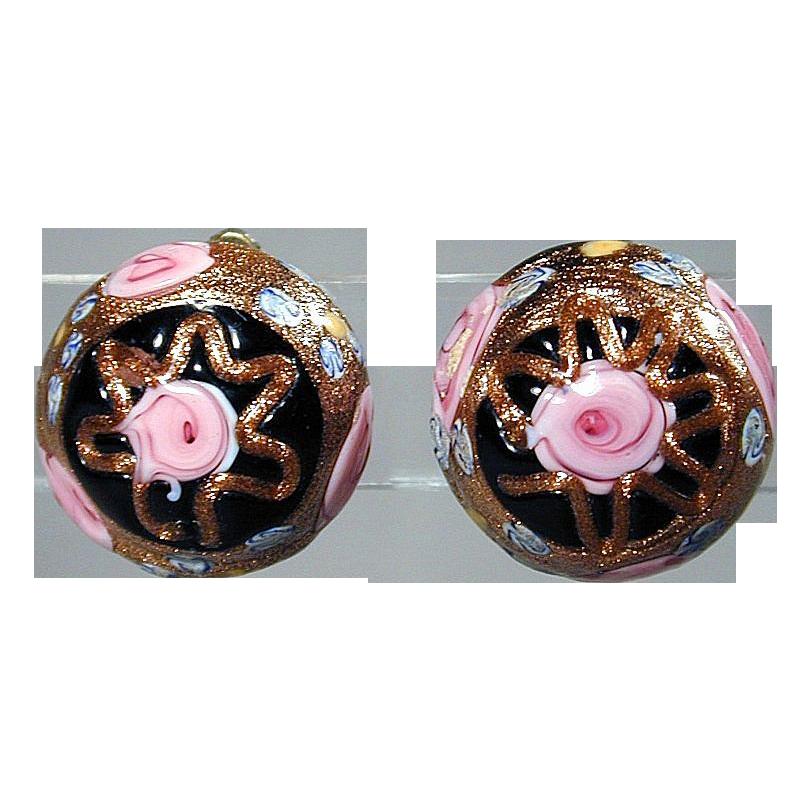 Vintage Venetian Art Glass WEDDING CAKE Clip-Back Earrings