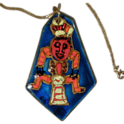 Big 1950s Enamel on Copper Modernist Ethnic Man Pendant Necklace
