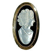 Vintage Catamore Gold-Filled CAMEO Pin - Mother of Pearl & Onyx