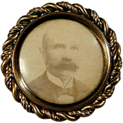 Antique Victorian Miniature Framed Photo Pin Mustache Man