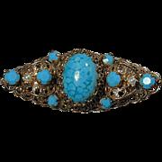 Vintage Pretty Goldtone Filigree Pin w/ Turquoise Stones
