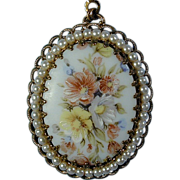 Vintage 1950s Painted & Pearled Porcelain Pendant - W. Germany