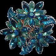 Vintage Triple FLOWER Navette Rhinestone Pin - Intensely Green