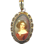 Vintage 800 Silver Filigree Pendant w/ Pretty Lady Portrait