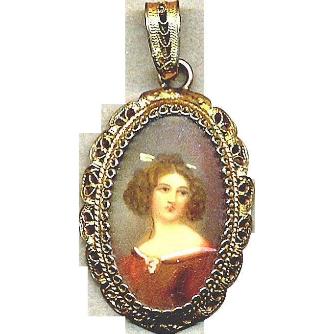 vintage 800 silver filigree pendant w pretty