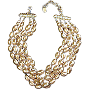 Vintage CAROLEE Multi-Strand Goldtone Baroque Bead Necklace