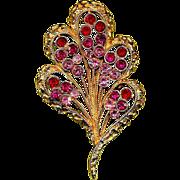 Vintage CORO Fan Pin w/ Pink & Red Rhinestones Brooch