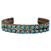 Signed 1970s Zuni Sterling & Sleeping Beauty Turquoise Cuff Bracelet