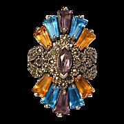 Sterling Silver Marcasite & Gemstone Cocktail Ring - Super Design