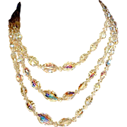 Vintage Aurora Borealis Austrian Crystal Necklace 3 Strands w/ Earrings