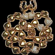 Vintage MONET Hearts & Rhinestones Necklace & Earrings Set
