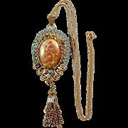 Romantic Couple Vintage Pendant Pin w/ G.F. Chain by Fragonard