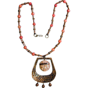 Big Modernist Mexican Pendant Hammered Copper w/ Onyx & Apple Coral Necklace