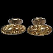 Victorian Antique 14K Gold Cufflinks Art Nouveau Floral Repousse