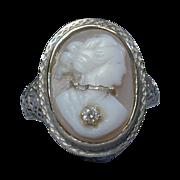 14K Gold Filigree Cameo En Habille Ring Art Deco Era 1920s