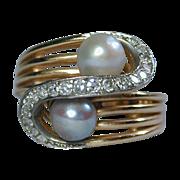 Estate 18K Yellow Gold Cocktail Ring w/ Diamonds & Genuine Pearls