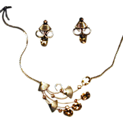 1940s Vintage Gold-Filled Rhinestones Necklace & Earrings Set in Orig. Box