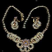 Gorgeous Sparkly Aurora Borealis Rhinestone Necklace & Earrings Set