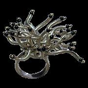 Wild and Crazy Modernist Sterling Silver Ring - Designer Signed