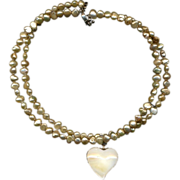 Baroque Pearls & Sterling Silver Flip-Over Heart 2-in-1 Necklace