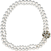 1950s Miriam Haskell White Milk Glass Necklace w/ Rose Montees Clasp