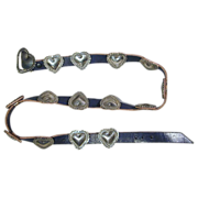 Navajo Sterling Silver Concho Belt - HEARTS - Signed ~D~