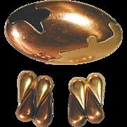 Vintage YSL Yves Saint Laurent Mixed Metals Pin & Earrings Set