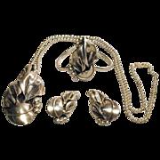 Vintage Sterling Silver CALLA LILY Parure Set Pendant Bracelet Earrings